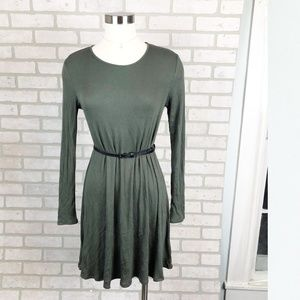 Soprano Ribbed Long Sleeve T-Shirt Dress Size M